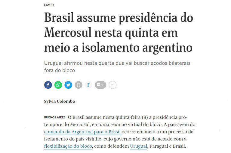 """Bolsonaro asume la presidencia del Mercosur y en Brasil hablan de """"aislamiento"""" argentino"""