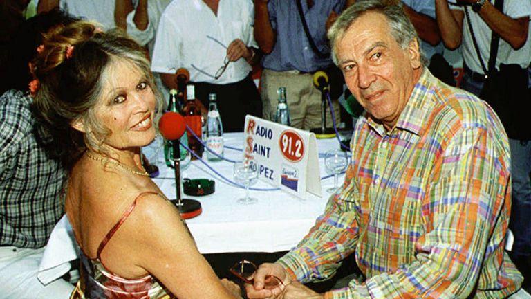 Junto Roger Vadim, en 1995, celebrando el 40 aniversario de la película Y Dios creó a la mujer
