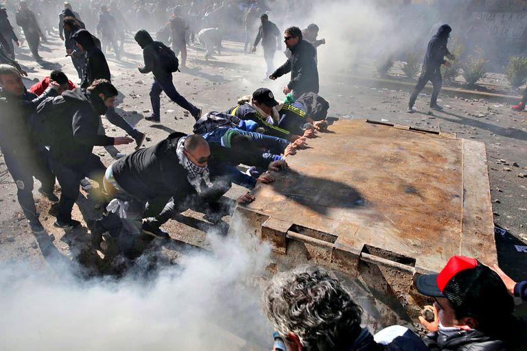 La manifestación era de militantes del Astillero Río Santiago