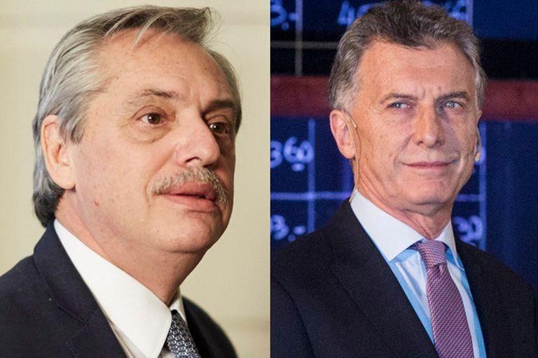 Los precandidatos presidenciales Alberto Fernández y Mauricio Macri