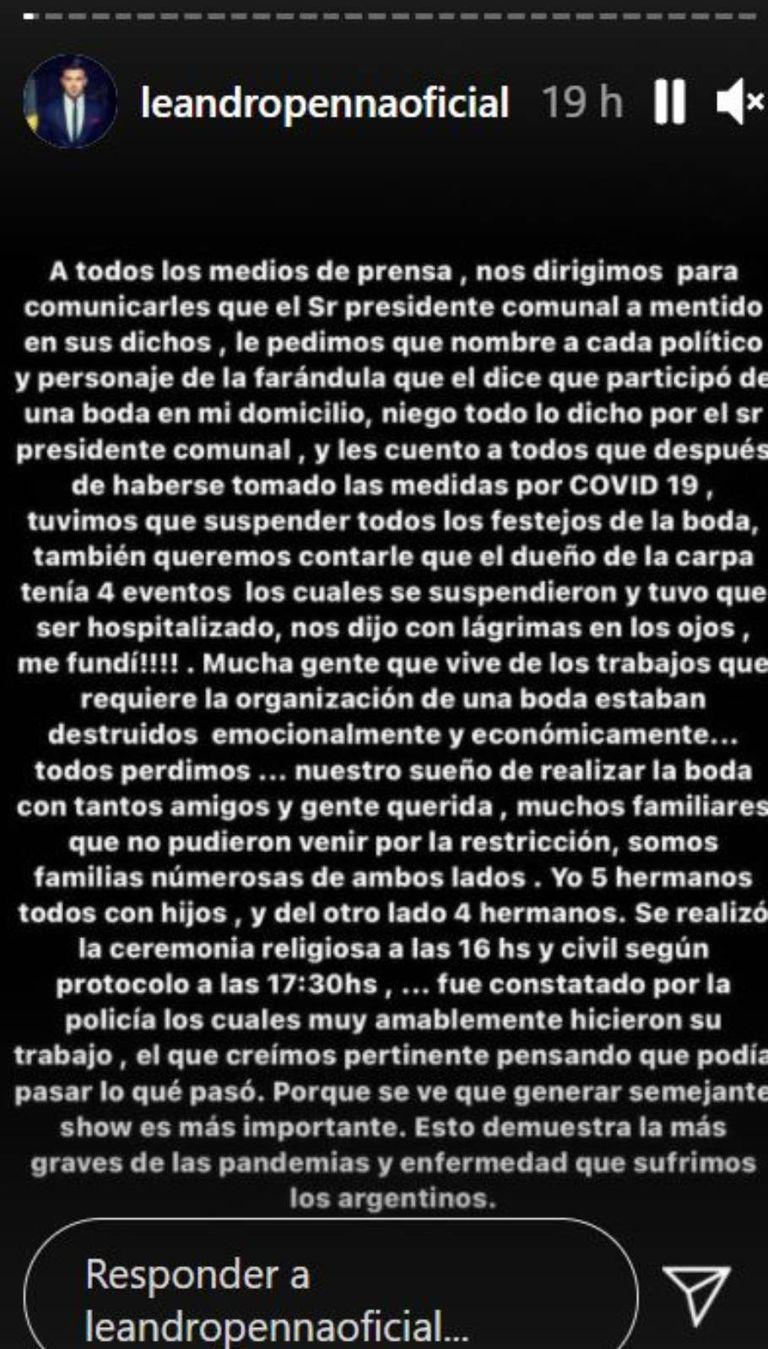 Leandro Penna escribió varios descargos en sus historias de Instagram, asegurando que la fiesta no había existido tal como comentó Martínez