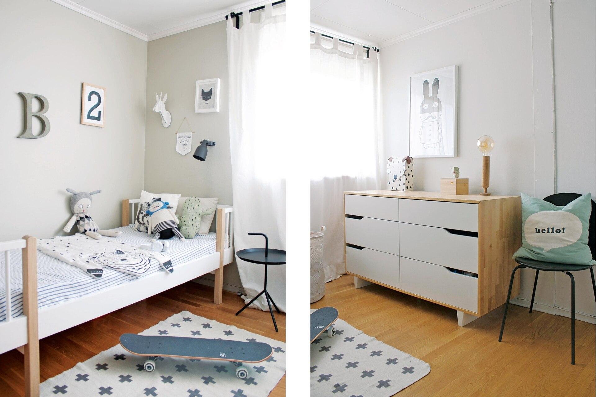 En el cuarto de Benjamín, cuna que se convirtió en cama (Oliver Furniture). Alfombra (Urban Outfitters). Cómoda (Ikea).