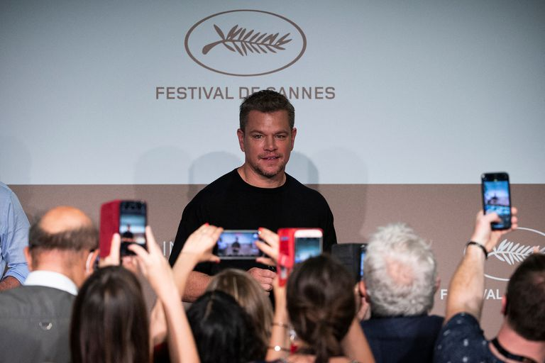 Damon llega a la conferencia de prensa de la película Stillwater, en Cannes
