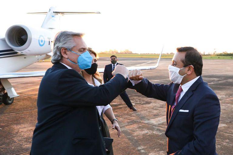 Alberto Fernández junto a Herrera Ahuad, gobernador de Misiones