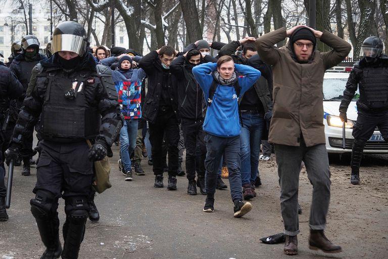 Más de 11.000 manifestantes fueron detenidos en todo Rusia tras las protestas pro Navalny durante los últimos dos fines de semana y en Moscú y San Petersburgo