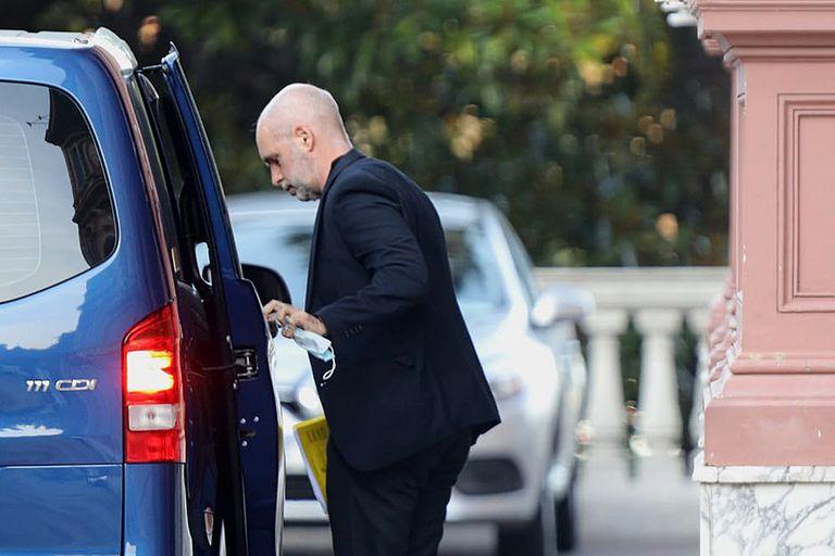 El jefe de gobierno porteño, Horacio Rodríguez Larreta, al llegar a la Casa Rosada
