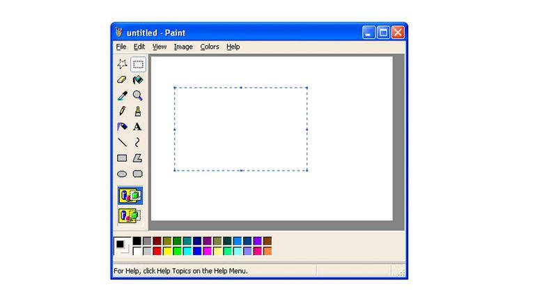 Una vista del MS Paint, el editor gráfico que estuvo presente en Windows desde 1985