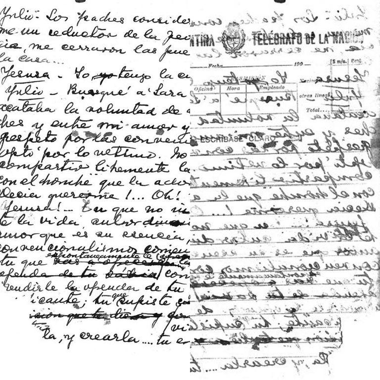 """Frente y reverso de un formulario de telegrama con el manuscrito de """"M´hijo el dotor"""", de Florencio Sánchez."""