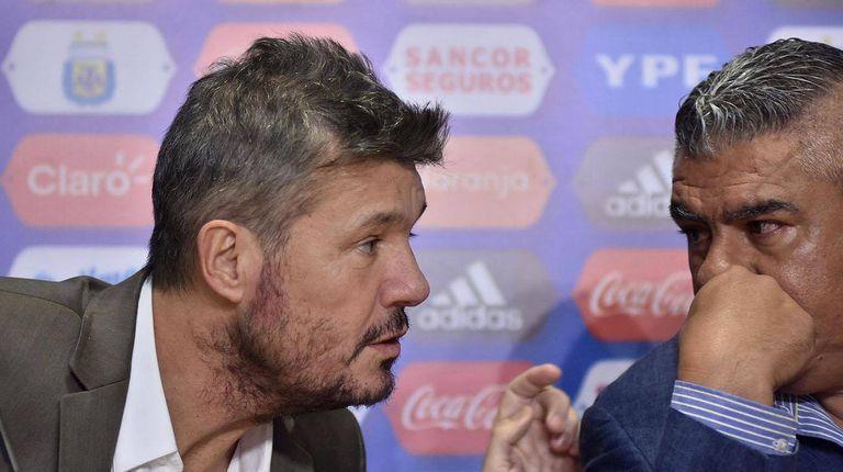 Marcelo Tinelli, presidente de la Superliga y de San Lorenzo, y Claudio Tapia, presidente de la AFA. Mediante videollamadas y conferencias virtuales, ambos intentan encarrilar el fútbol argentino en tiempos de pandemia.