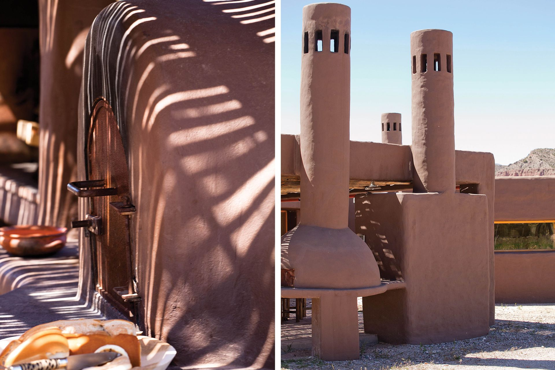 Con chimeneas esculturales, la parrilla y el horno de barro toman una gran proporción del afuera.