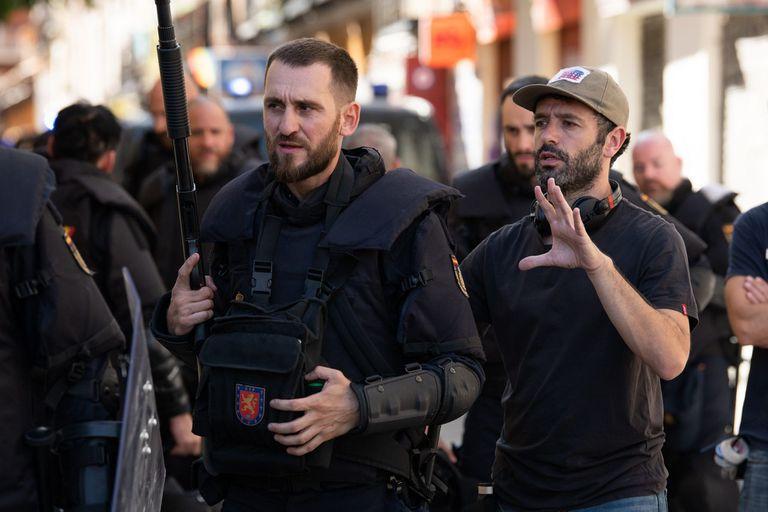 07-10-2020 Rodrigo Sorogoyen y Raú Arévalo en el rodaje de Antidisturbios CULTURA MOVISTAR+