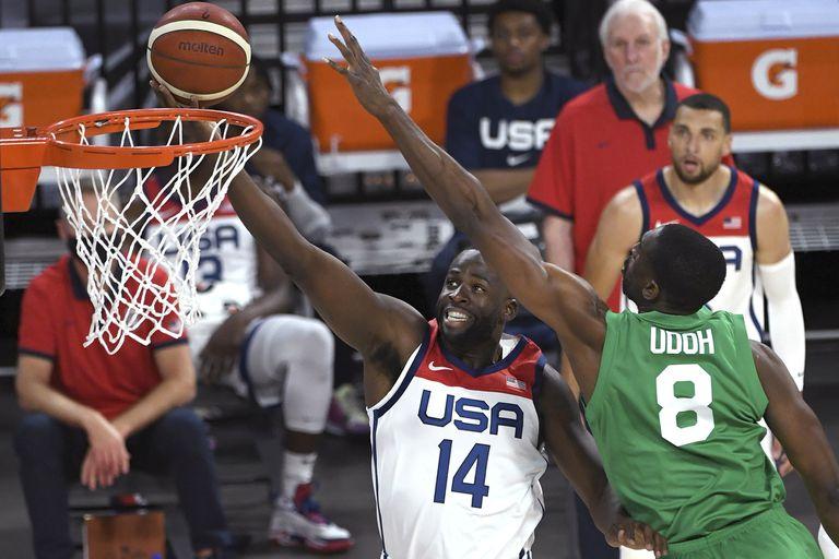 Draymond Green define ante Ekpe Udoh, en el duelo amistoso disputado en Las Vegas en el que Nigeria le ganó a Estados Unidos