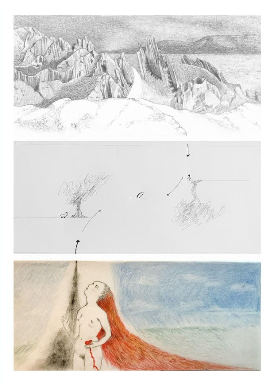 Obras de Mariana Sissia, Marie Orensanz y Delia Cancela que integran su proyecto Nosotras cautivas, que involucra a casi 50 artistas de Francia y la Argentina