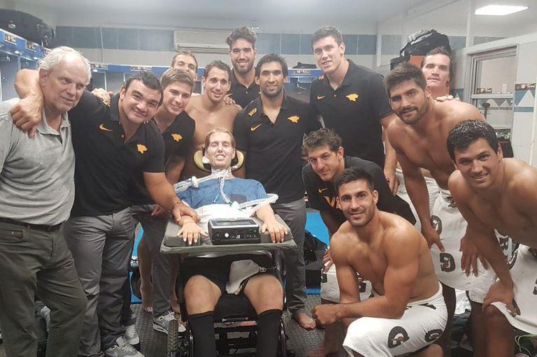 Una de las últimas visitas de Jerónimo Bello al equipo de Jaguares, en el Super Rugby