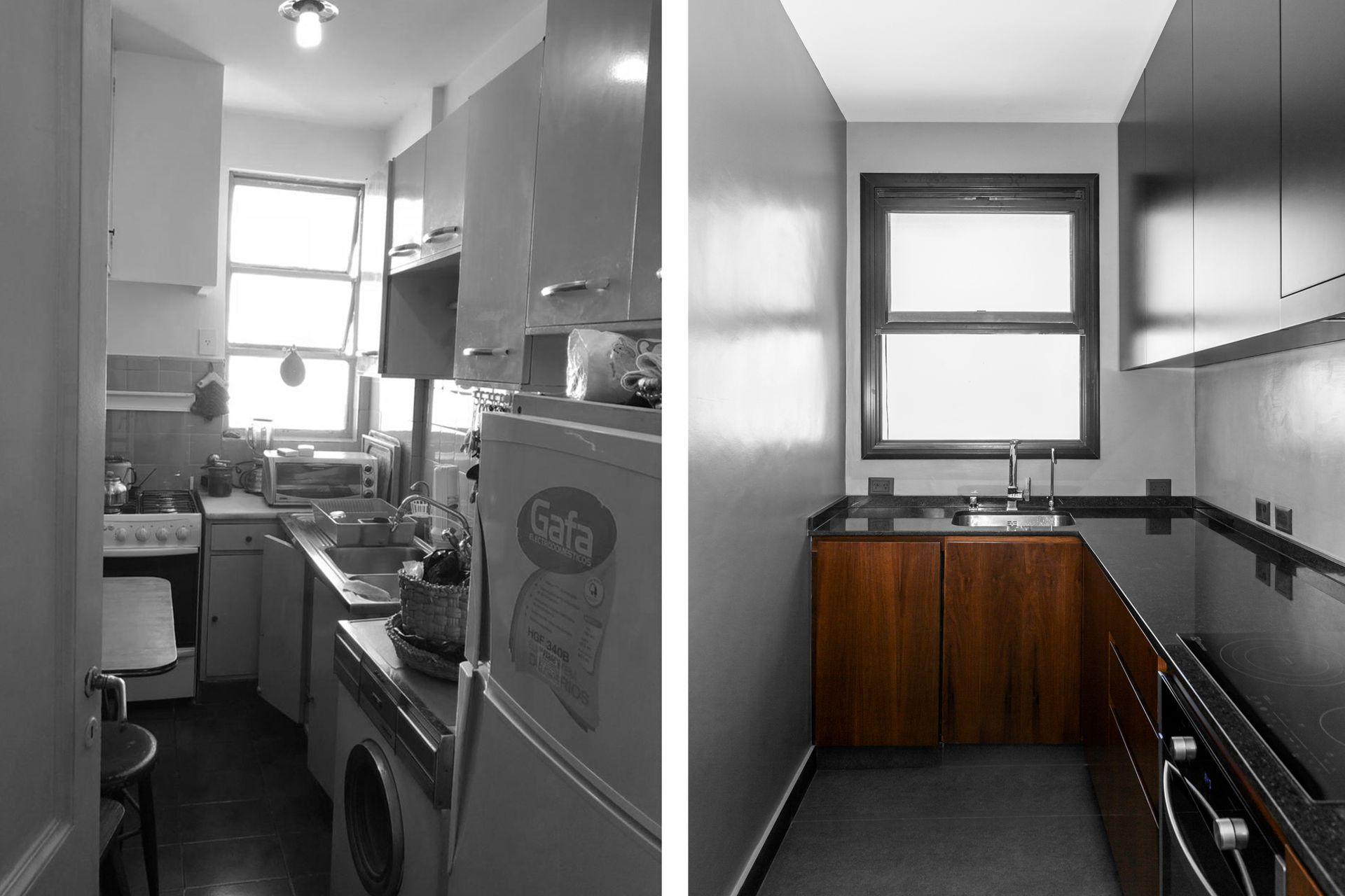 La intervención incluyó un lavadero que permitió refuncionalizar la cocina. Piso de porcellanato (Vite Porcellanato), amoblamiento enchapado en Petiribí, mesada de granito (MD Dodera), pileta (Johnson) con monocomando (FV) y alacenas laqueadas.
