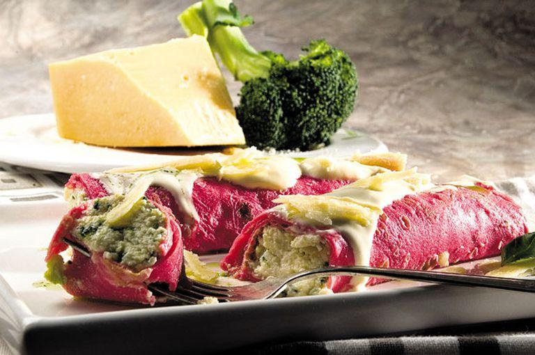 Canelones de ricota, broccoli y parmesano