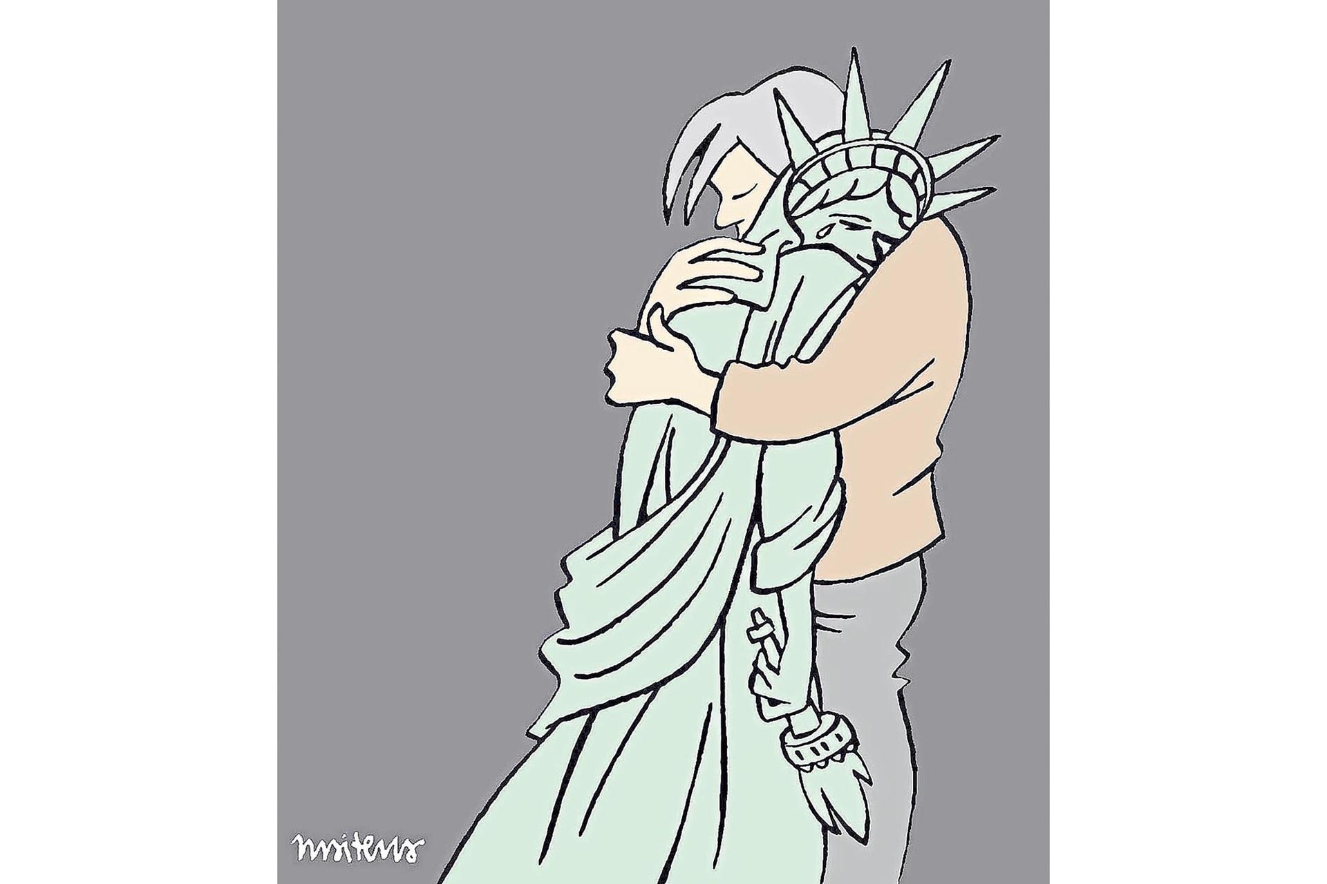 La Estatua de la Libertad, dos días después de los ataques del 11 de septiembre de 2001