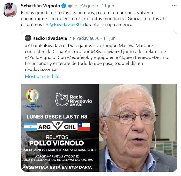 Vignolo compartió la noticia en su cuenta de Twitter, donde reiteró su admiración por Macaya Márquez