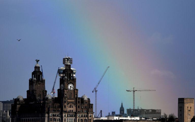 El Royal Liver Building en Liverpool, noroeste de Inglaterra