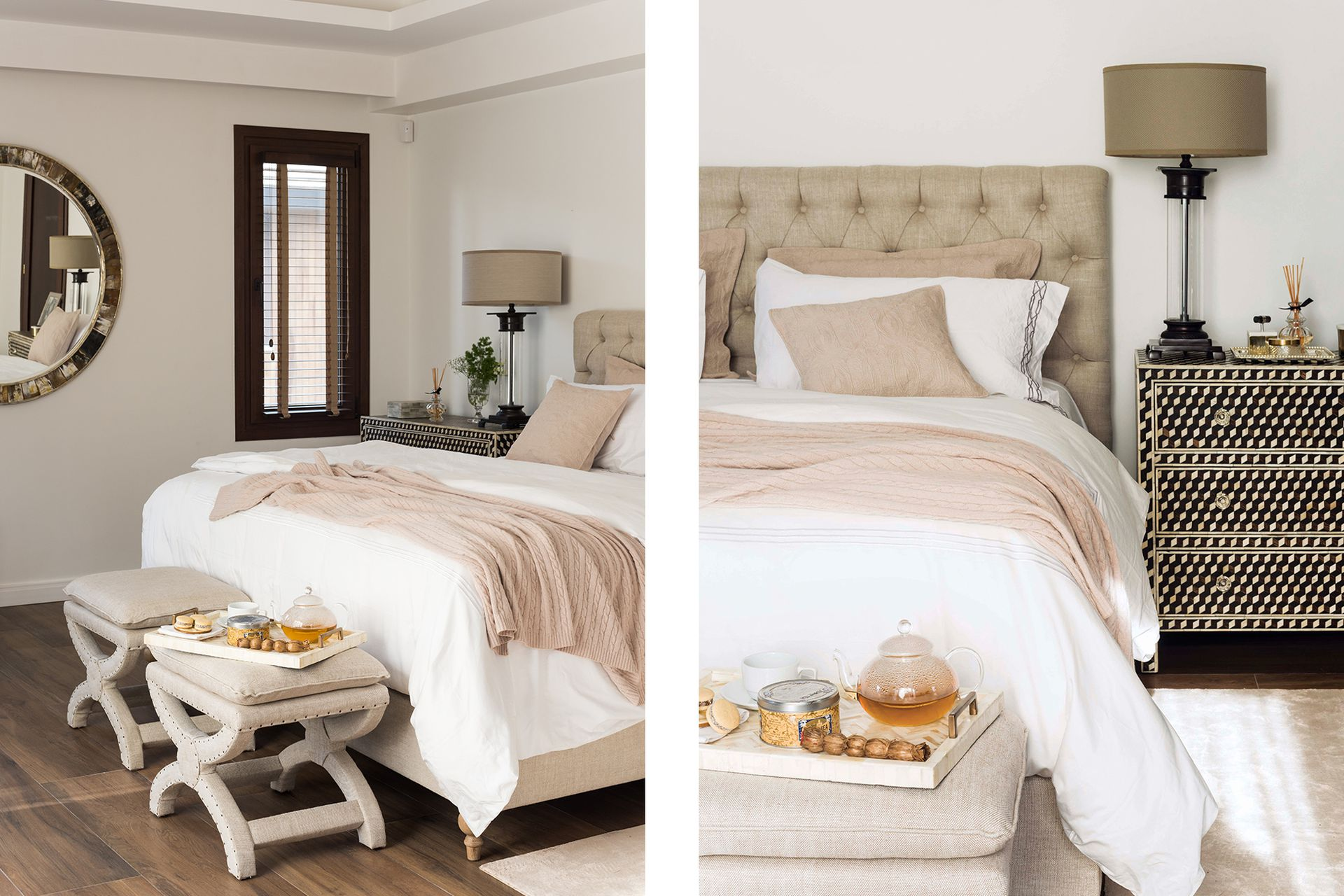 Respaldo de cama 'Adler' en lino beige y las poltronas al pie de cama (todo de Landmark).