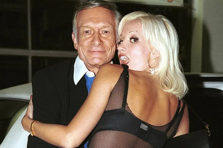 "Hugh Hefner y Holly Madison, autora del libro ""Down the Rabbit Hole"""