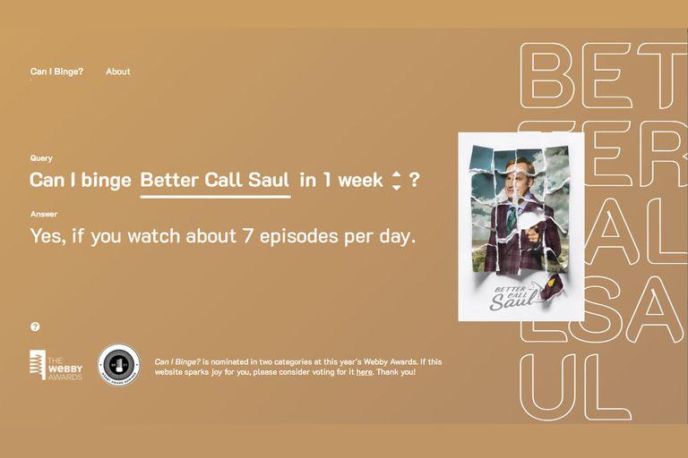 Según el sitio, se deben ver siete episodios por día para completar toda las temporadas de Better Call Saul en una semana