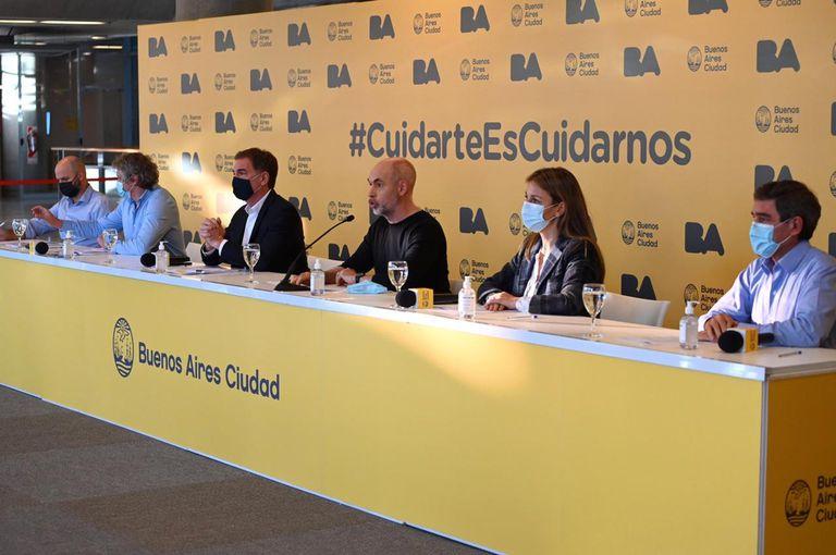 Conferencia de prensa de Larreta y los ministros de la Ciudad Autonoma de Buenos Aires, el 30 de abril