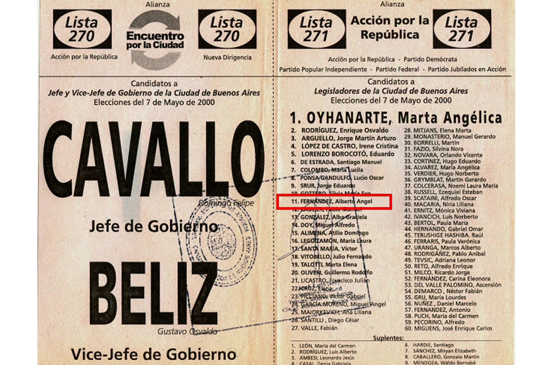 Boleta para las elecciones del 7 de mayo de 2000
