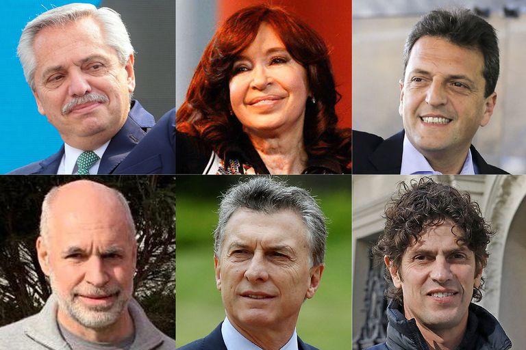 Alberto Fernández, Cristina Fernández de Kirchner, Sergio Massa, Horacio Rodríguez Larreta, Mauricio Macri y Martín Lousteau