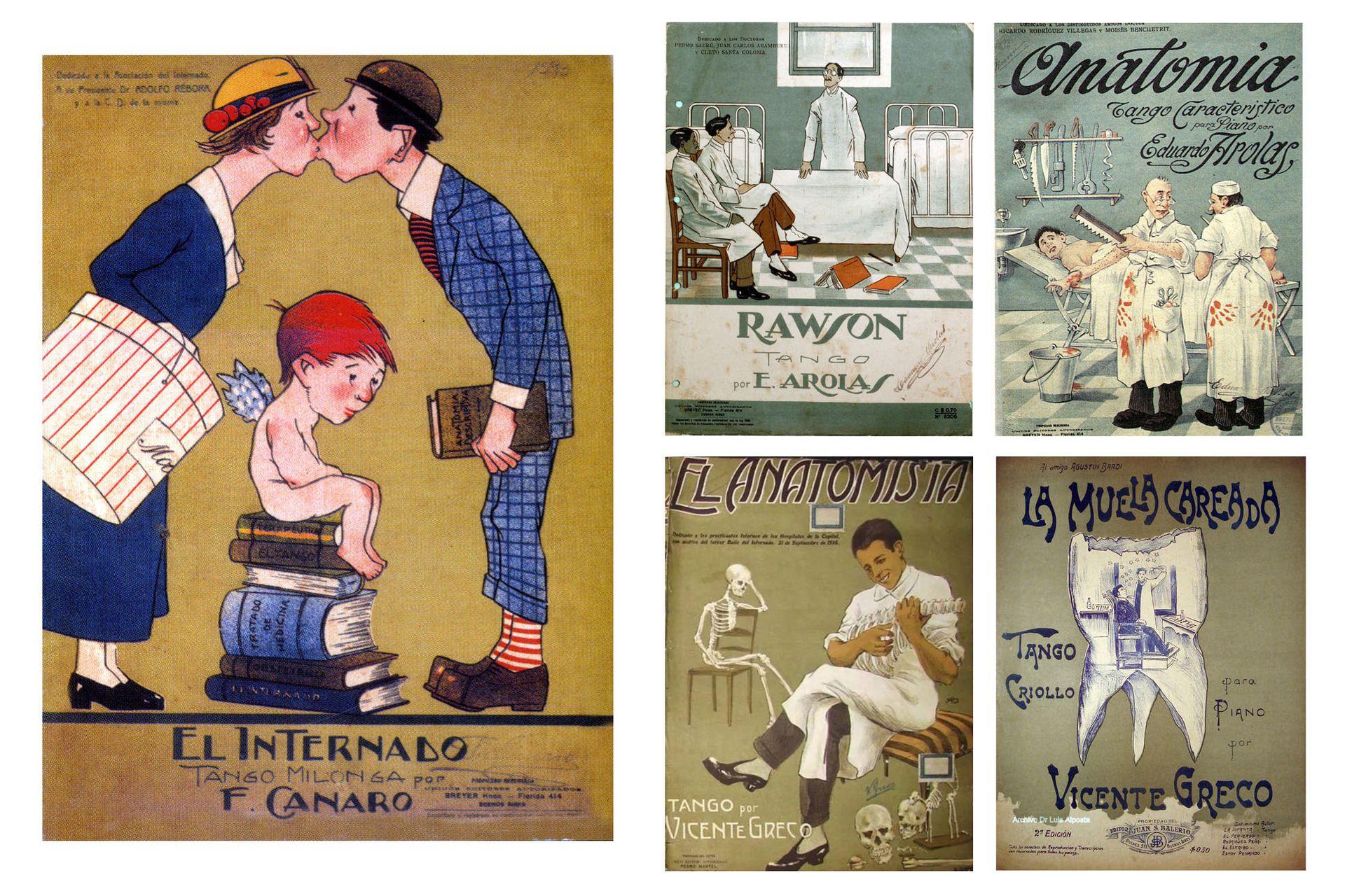 """La carátula del tango El Internado de Canaro se convirtió en el símbolo de los Bailes del Internado. Hubo muchos otros """"tangos médicos"""" asociados con estos festejos."""