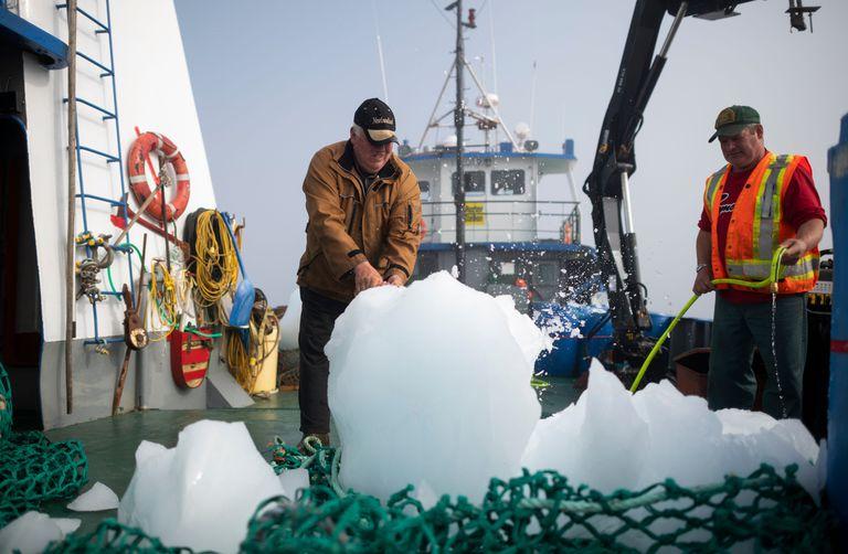 El Capitán Edward Kean aplasta pedazos de un iceberg, mientras que Phil Kennedy limpia el agua salada, mientras navegan en la Bahía de Bonavista el 30 de junio de 2019 en Terranova, Canadá