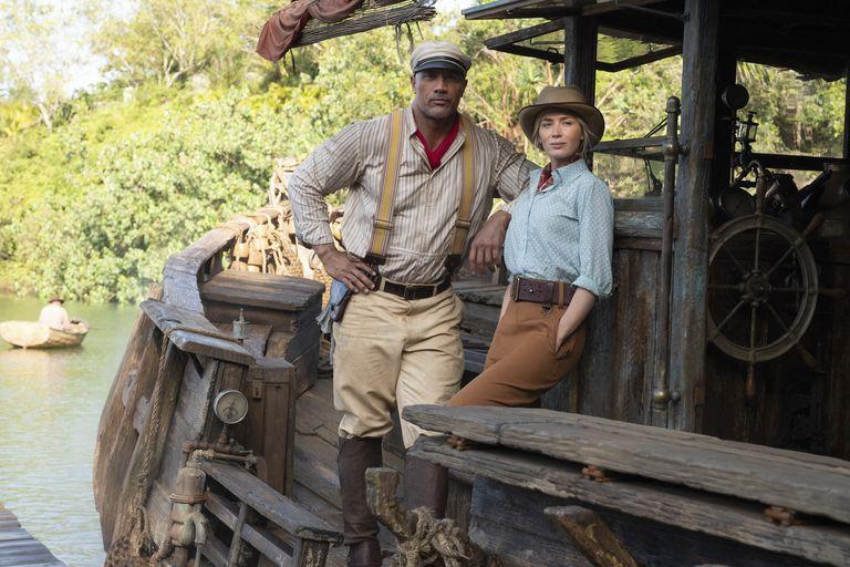 Dwayne Johnson y Emily Blunt en Jungle Cruise