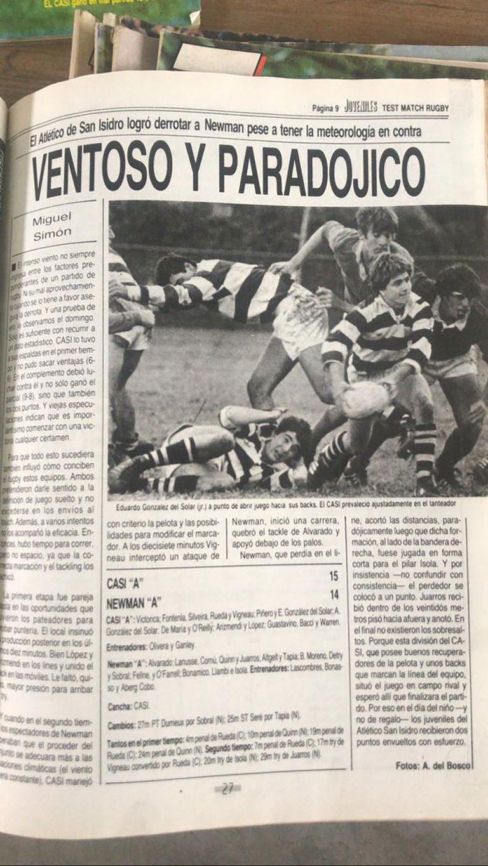 Crónica de rugby en la revista Test Match, uno de sus primeros trabajos; en el periodismo Simón comenzó en la gráfica.