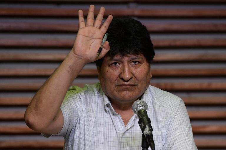 El expresidente boliviano Evo Morales, hoy, durante una conferencia de prensa en Buenos Aires