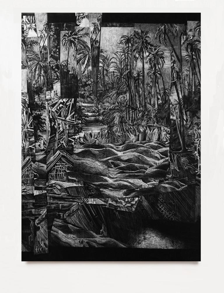 Para los dibujos abstractos de esta serie, Ercole emplea agujas, cuchillas y otras herramientas que se inventa para descubrir el blanco del papel