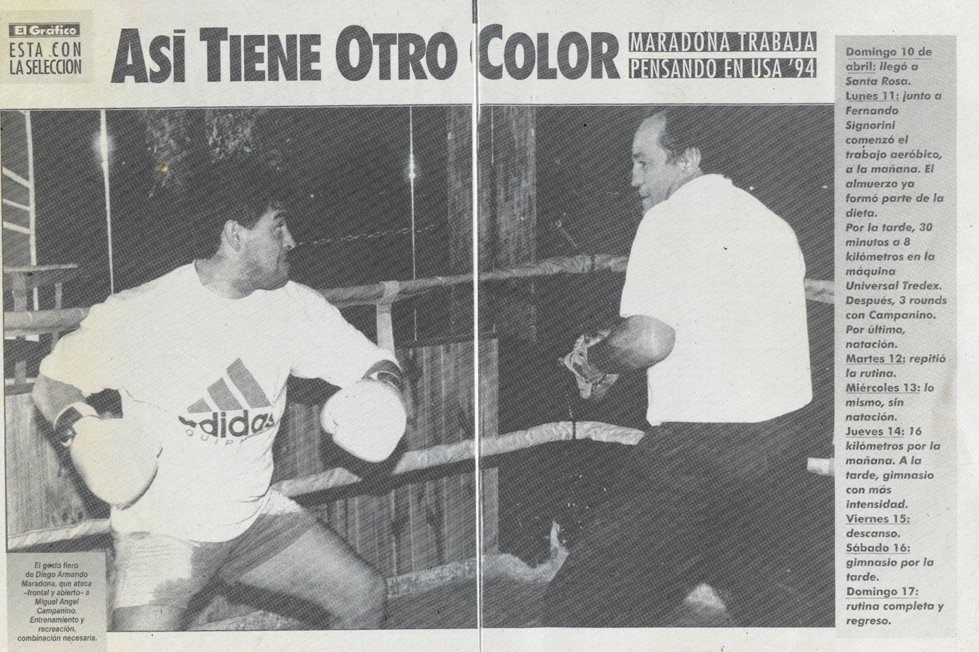 La publicación de la revista El Gráfico, con la cobertura del entrenamiento de Diego: guantes con Miguel Angel Campanino