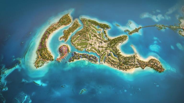 Isla con forma de delfín en Arabia Saudita.