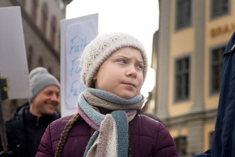 Greta Thunberg, en una de las protestas por el cambio climático