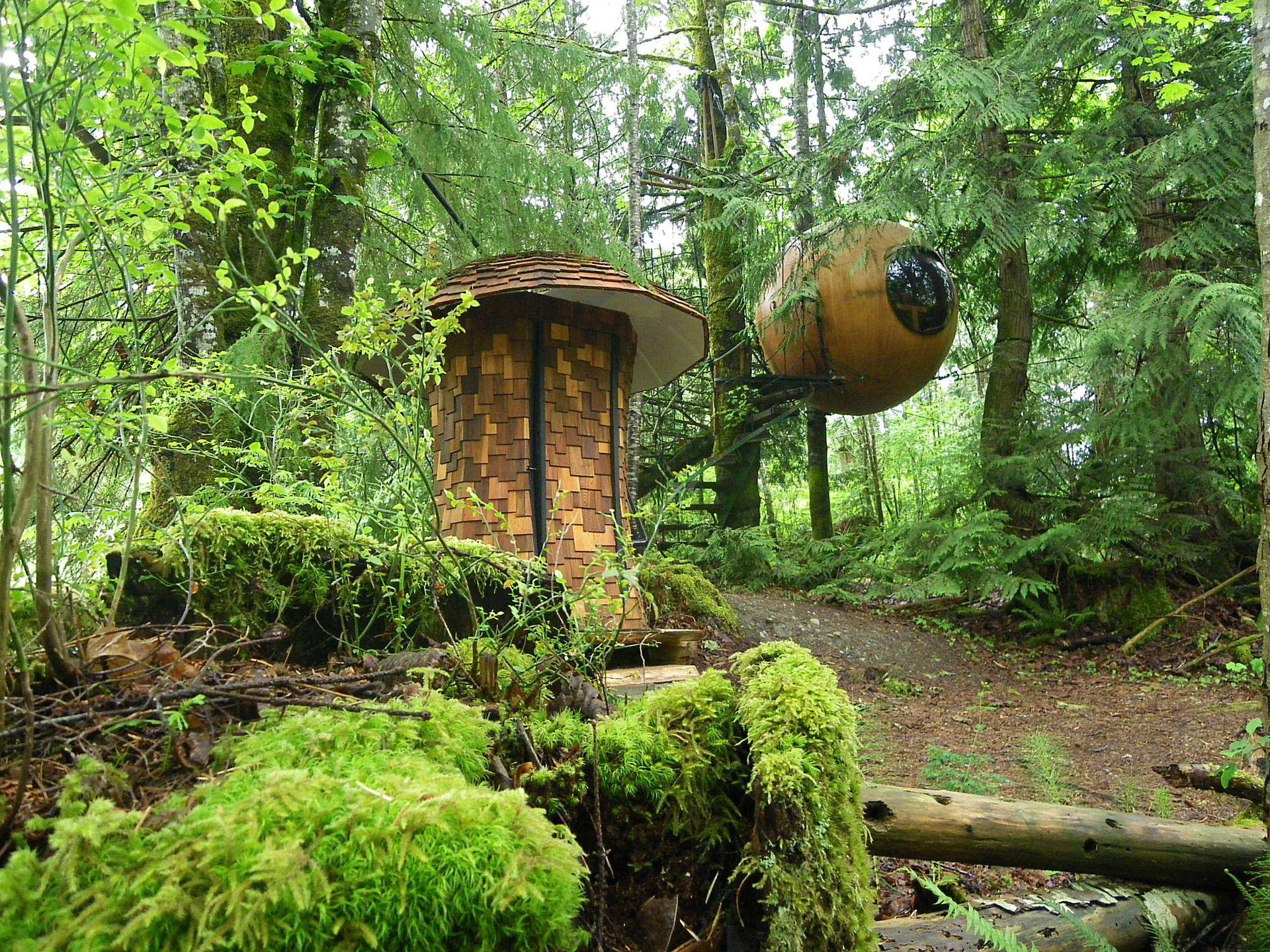 Las esferas del hotel de Tom Chudleigh parecen flotar en medio del bosque de Vancouver, Canadá.
