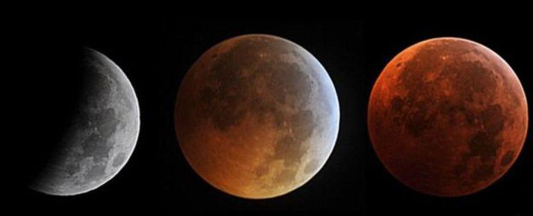 Este montaje muestra un eclipse lunar total de 2010