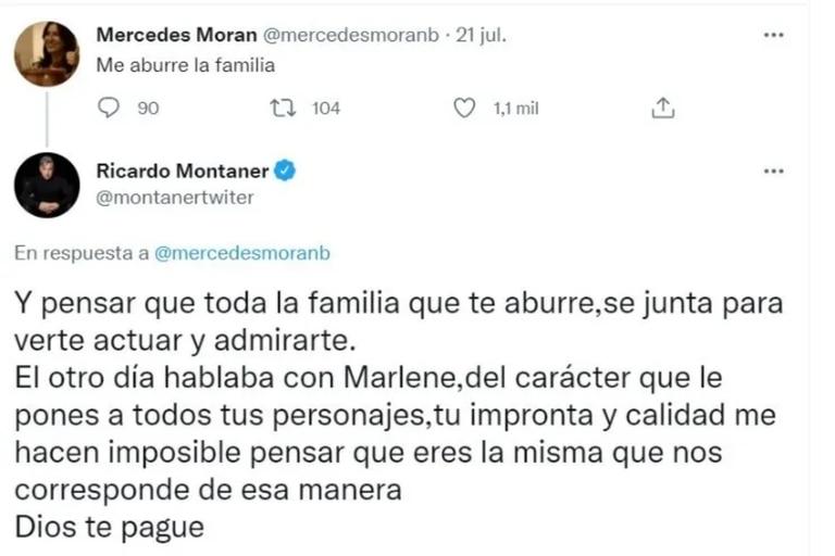 """Mercedes Morán había apuntado contra la familia del cantante, quien le hizo una dura advertencia: """"Dios te pague"""""""