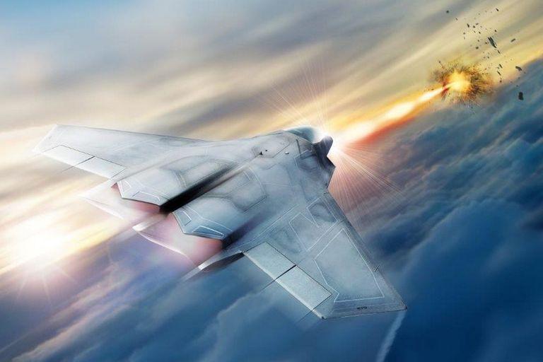 Una representación artística sobre la aplicación del sistema laser SHIeLD en una aeronave de combate de EEUU