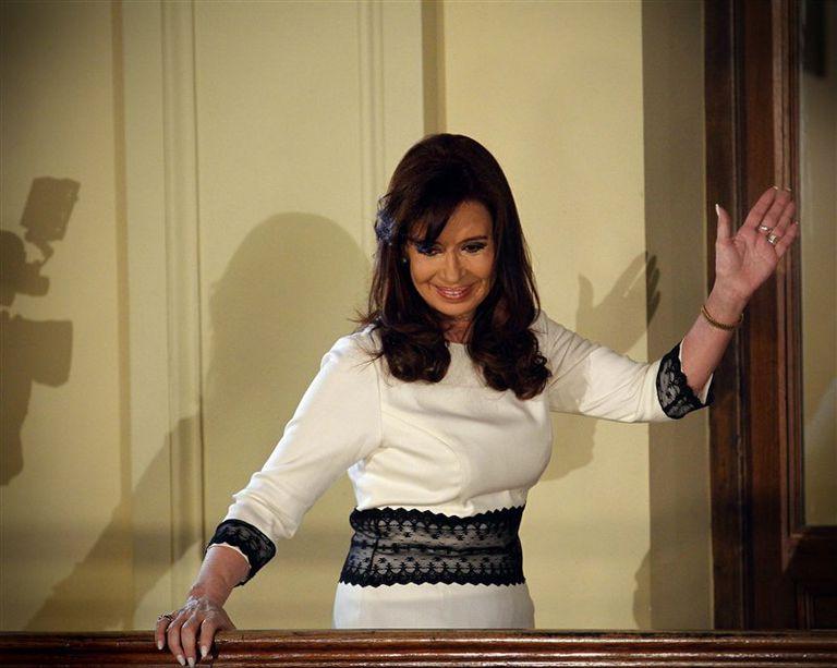 Cristina, ayer, en su aparición pública tras el fracaso de las gestiones en Nueva York