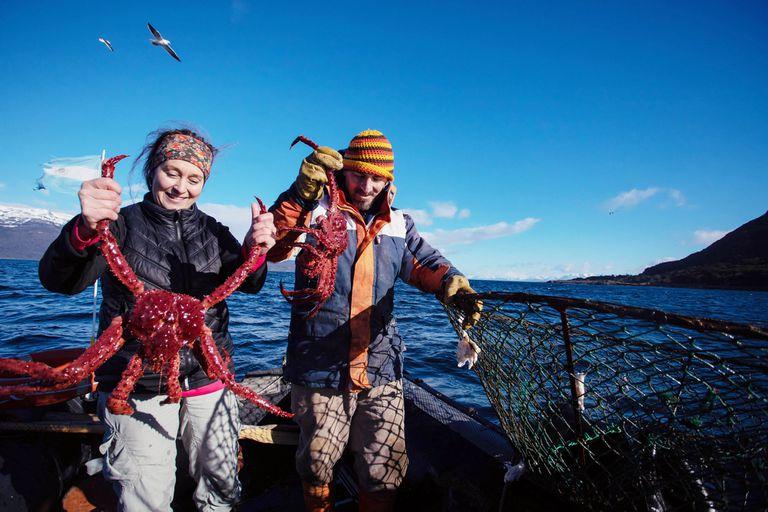 Pesca artesanal de centolla en Puerto Almanza, Tierra del Fuego