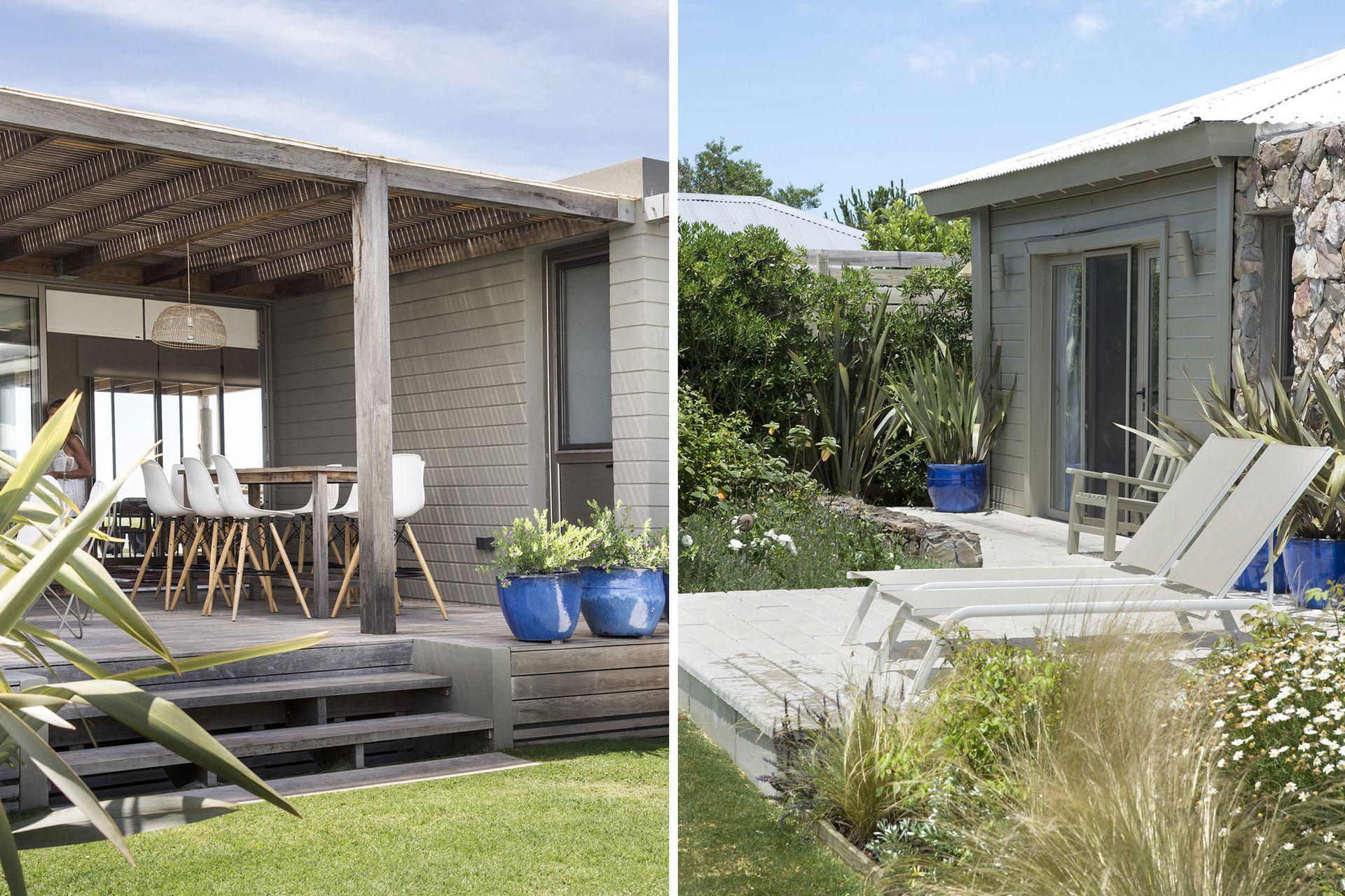 El color agrisado de la madera oxidada, presente en los distintos módulos construidos alrededor del jardín, aliviana la arquitectura.
