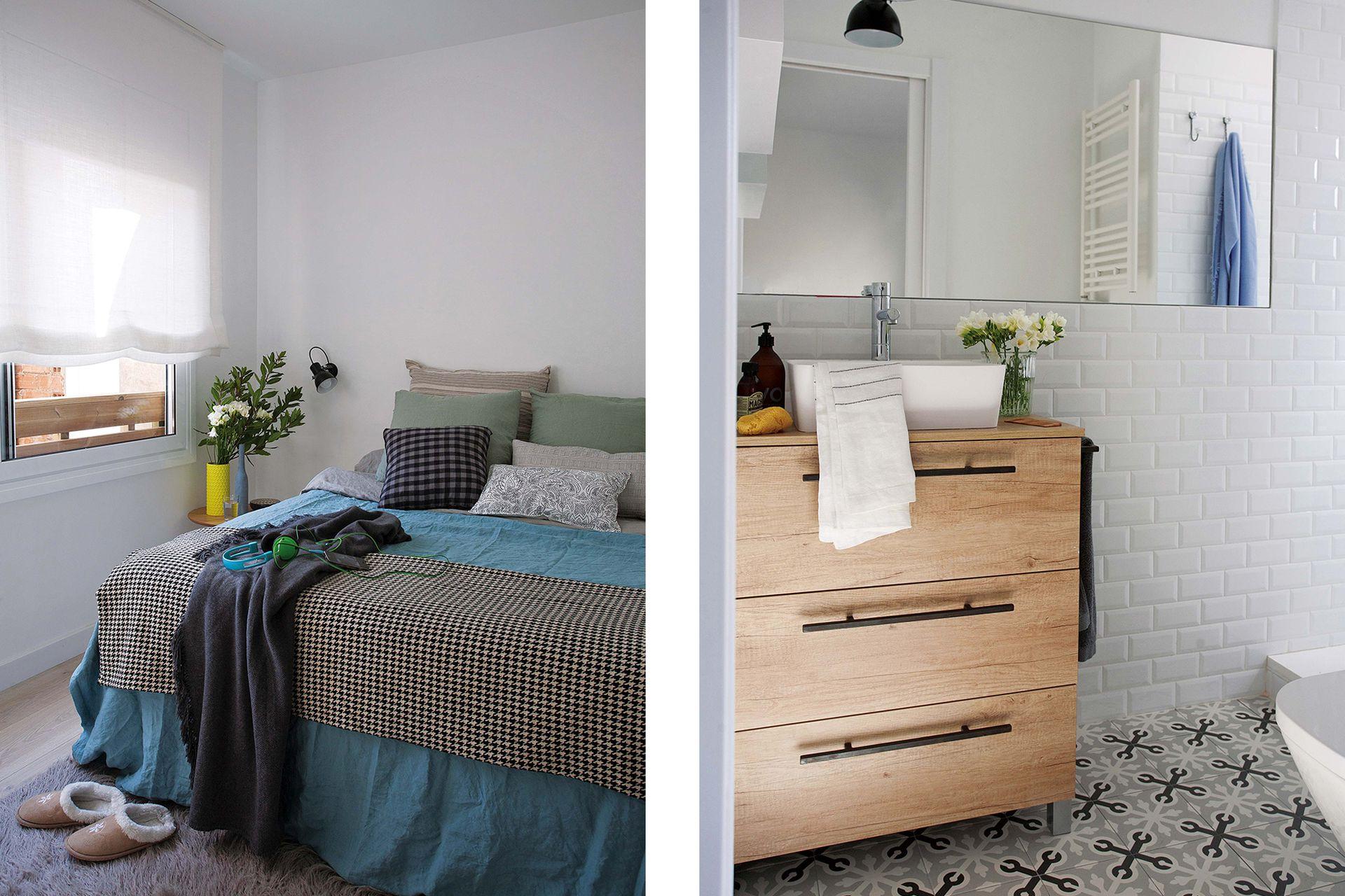 En el dormitorio, mesa de luz (Sacum), aplique de pared (Interiorista Marta Prats). Funda de lino celeste (Zara Home), pie Príncipe de Gales y almohadones en lino (todo de Calma House).