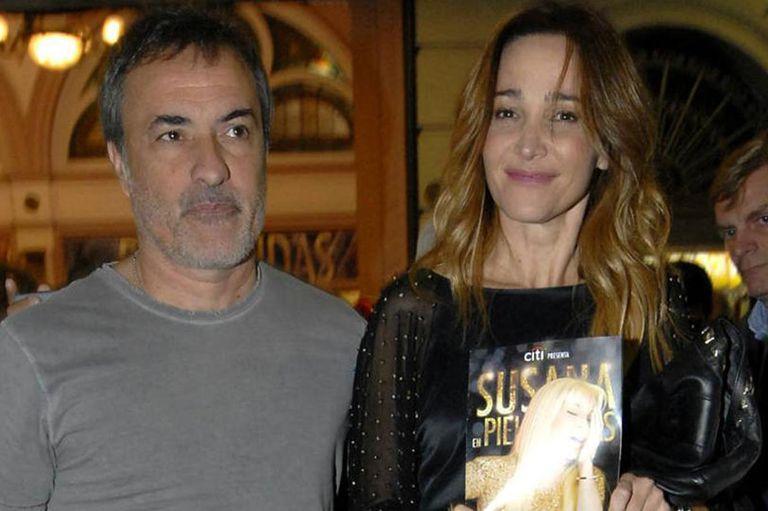"""""""Corcho"""" y su mujer. Verónica Lozano, en el teatro Lola Membrives en marzo de 2015, en el estreno de una obra de Susana Gimenez"""