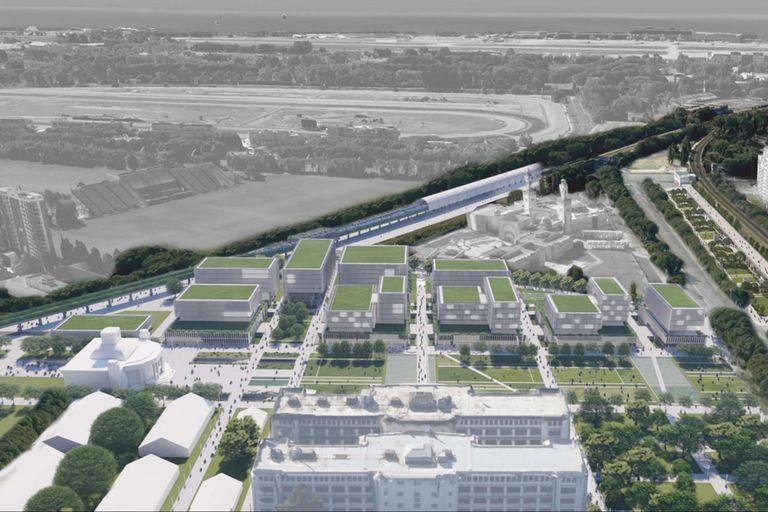 Una ilustración de cómo quedaría representado el proyecto ganador; el Pabellón del Centenario se observa en el vértice inferior izquierdo