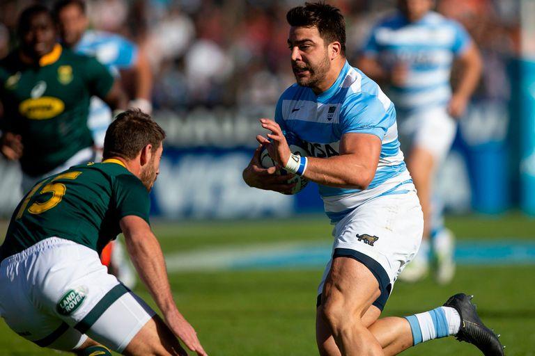 Facundo Isa contra Springboks, en Salta, por el Rugby Championship; aquel encuentro de agosto de 2019 seguirá siendo el último de los Pumas en el país por lo menos hasta mediados de 2022.