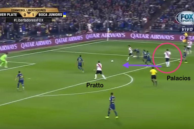 La pared entre Nacho Fernández y Palacios terminará con el centro atrás y el gol de Pratto a Boca en Madrid, por la Libertadores 2018